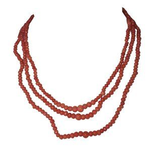 Victorian Red Coral Triple Strand Bead Necklace